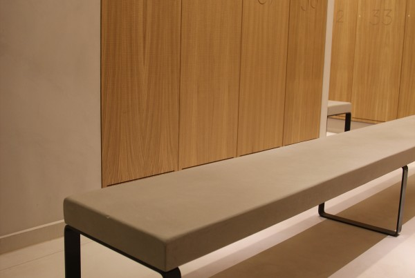 beton cire walls bench